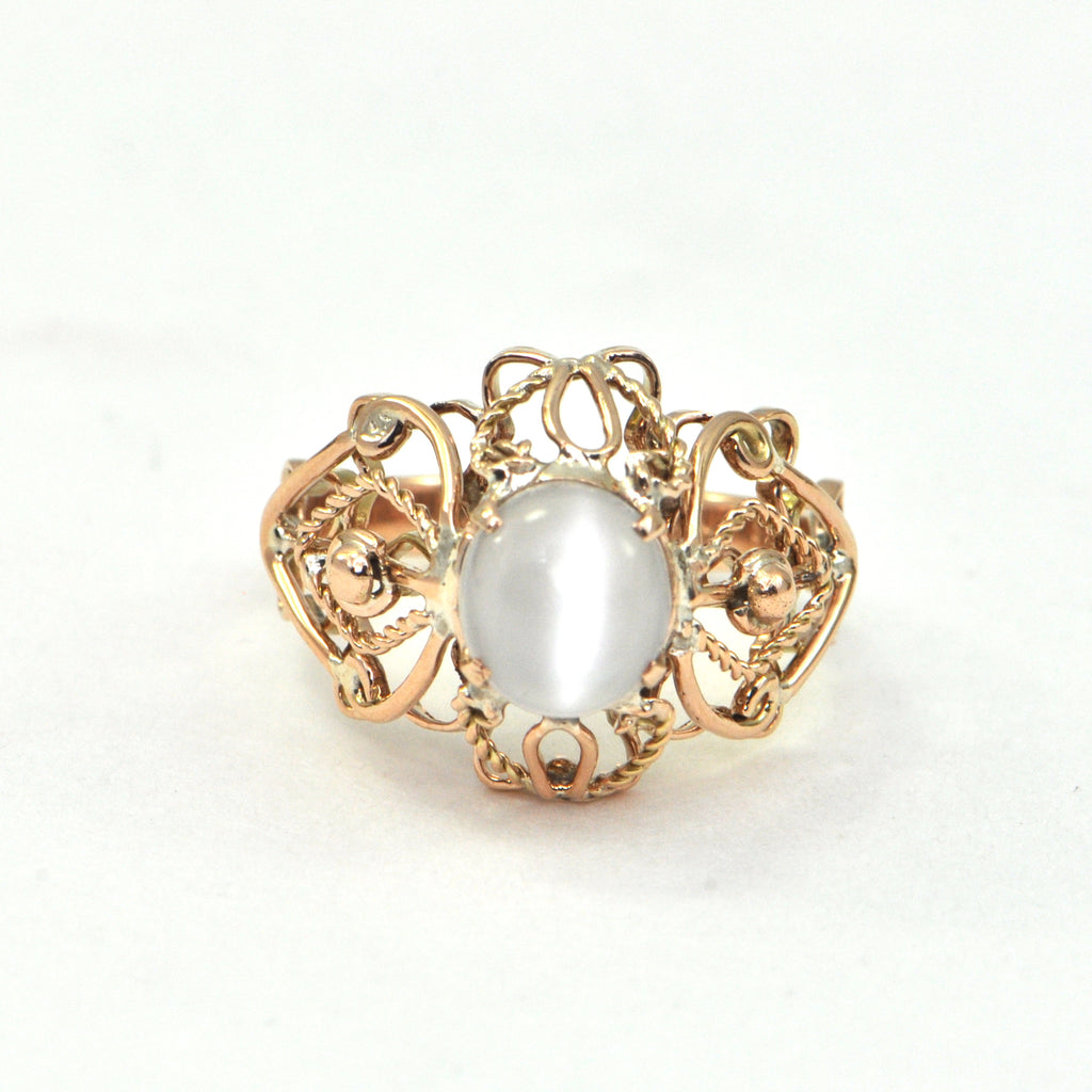 Chatoyant Moonstone in 14k rose gold Circa 1950 - Montreal estate Jewellers