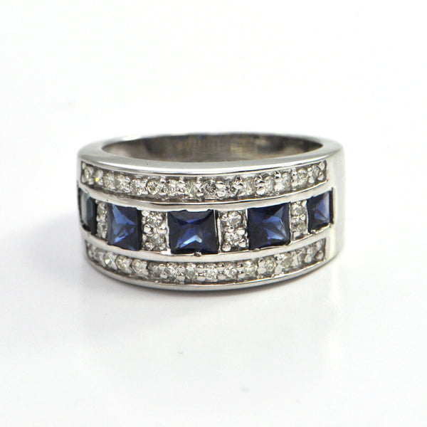 Vintage Sapphire and Diamond wide band C. 1980, montreal estate jewellers