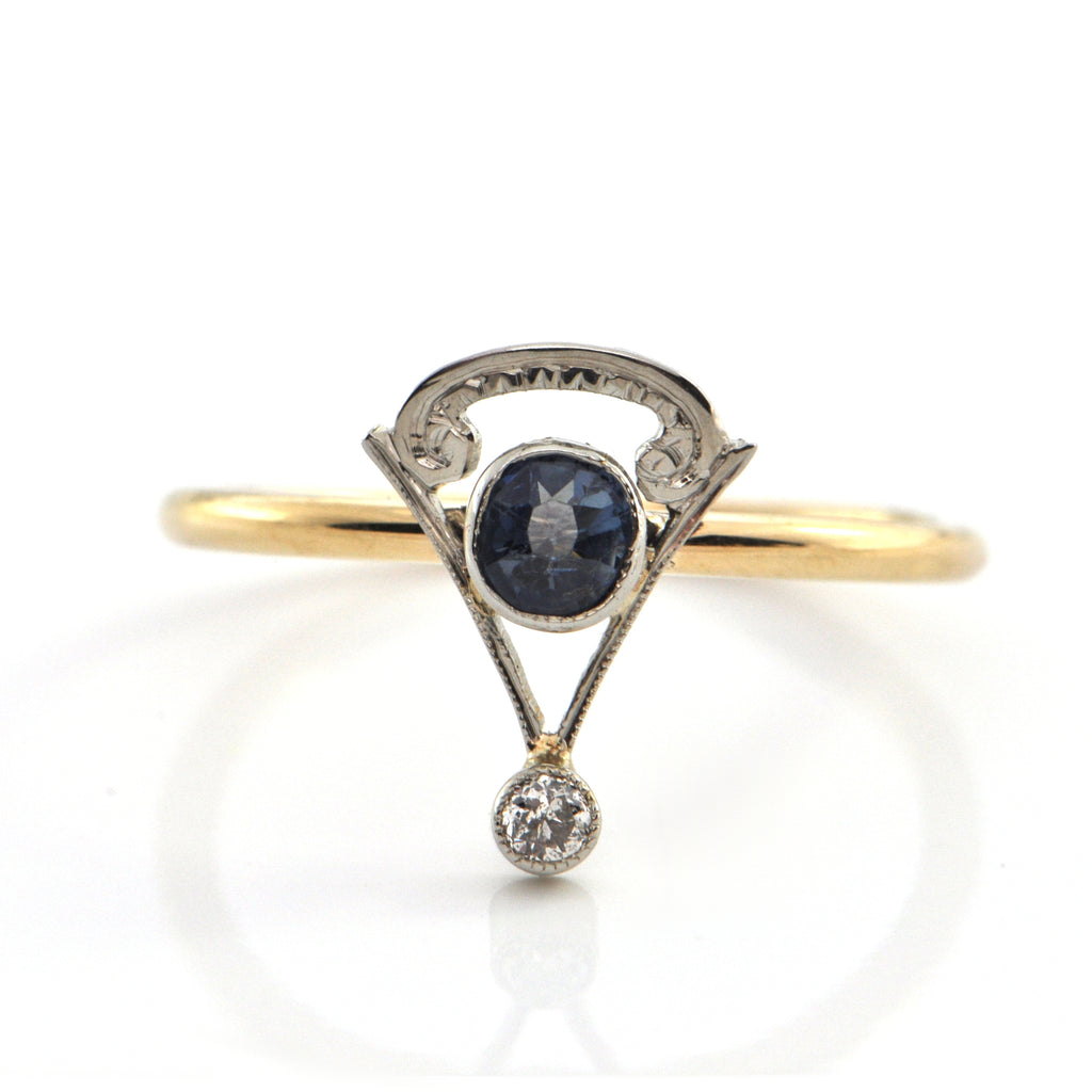 Art Deco C.1920 Sapphire and Diamond 18K Gold Ring + Montreal Estate Jewelers