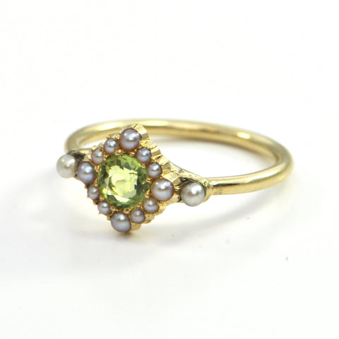 Late Victorian Peridot and Seed Pearl 18k Gold Ring Circa 1890