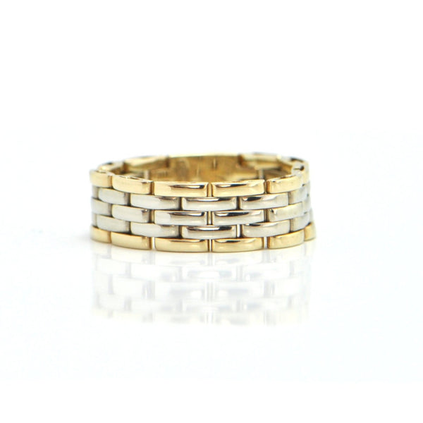 Italian 14K Two Toned Oyster Link Ring + Montreal Estate Jewelers