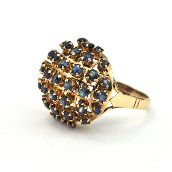 4.1 ct Sapphire Bombay 18k gold ring Circa 1950 - montreal estate jewellers