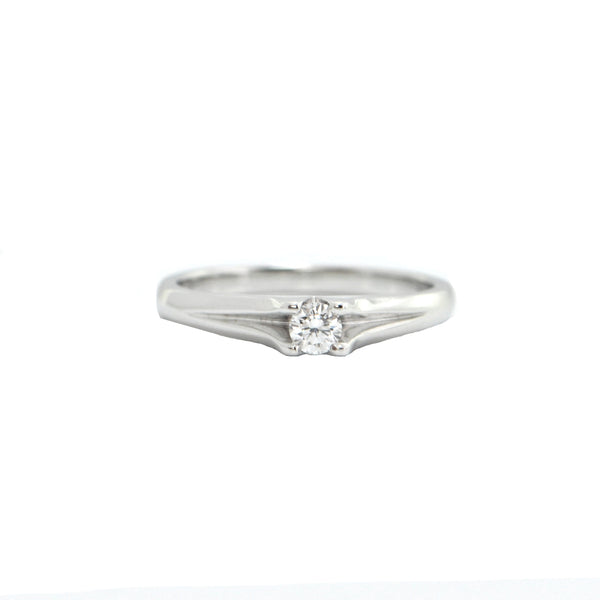 Modern Solitaire Diamond 14K White Gold Ring + Montreal Estate Jewelers + Montreal Estate Jewelers