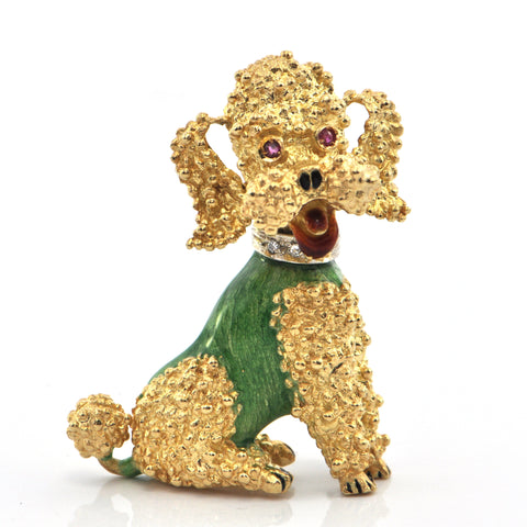 Vintage Italian 18K Yellow Gold Poodle in Enamel with Ruby Eyes and Diamond Collar  + Montreal Estate Jewelers
