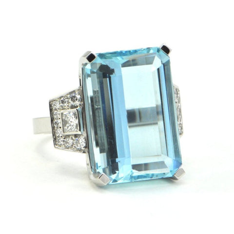 16.5 CT Aquamarine and 0.64 CT Diamond Ring in Platinum - montreal jewellery designs