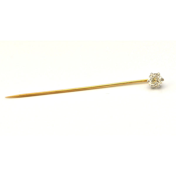 Antique 0.75 Carat Diamond Long Stem Lapel Pin - Daisy Exclusive - Montreal Westmount