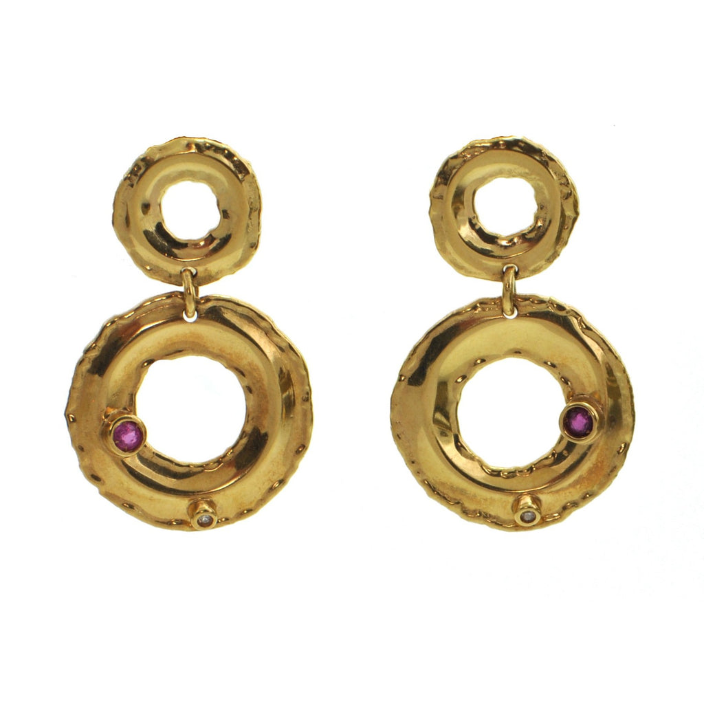 Mid Century,  circa 1960, Italian Ruby and Diamond 18k Yellow Gold Dangle Earrings + Montreal Estate Jewelers