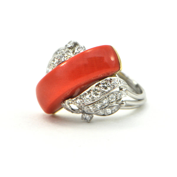 Vintage Coral and 0.50ct Diamond ring circa 1960 - montreal estate jeweller