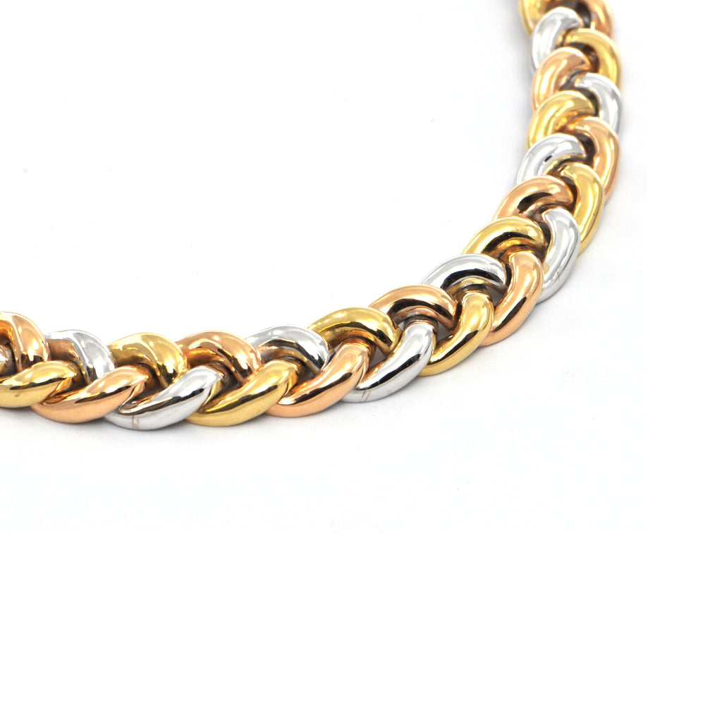Irish Three tone 18k vintage Linked Collar Necklace, Montreal estate jewellers