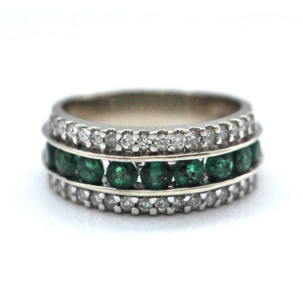 Vintage 14K Emerald & Diamond Band - Westmount, Montreal, Quebec - Daisy Exclusive