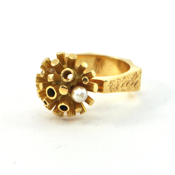 Walter Schluep Retro Ring with Pearl Circa 1960 - montreal jeweller