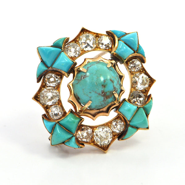 3.5 ct Georgian Diamond and Turquoise brooch Circa 1800 - montreal estate jewellers