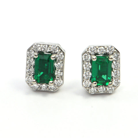 0.87 ct Emerald Earrings with Diamond Halo