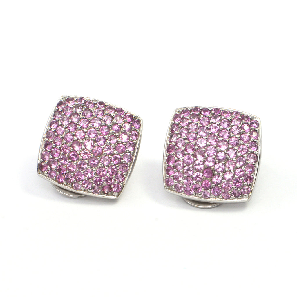 4.86 ct Pink Sapphire cluster earrings in 18k white gold C. 1960's, montreal estate jeweller