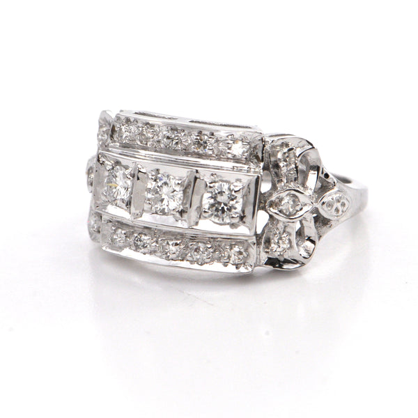 0.48 ct 14k white gold ring Circa 1950, montreal estate jewellers