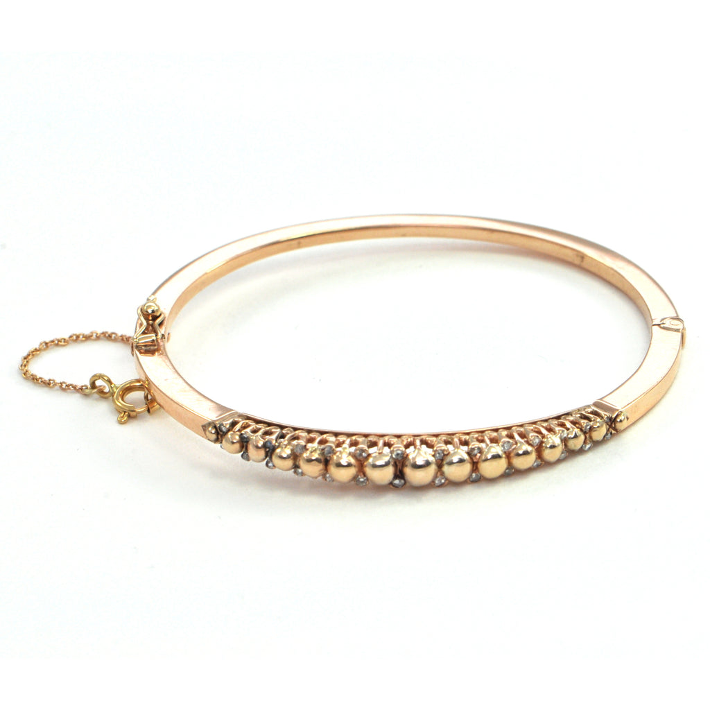 Rose cut diamond hinged bangle in 14k rose gold Circa 1900, montreal estate jewellers