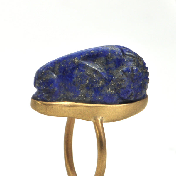 Lapis Lazuli Ram's Head ring 18k - Montreal estate jewellers