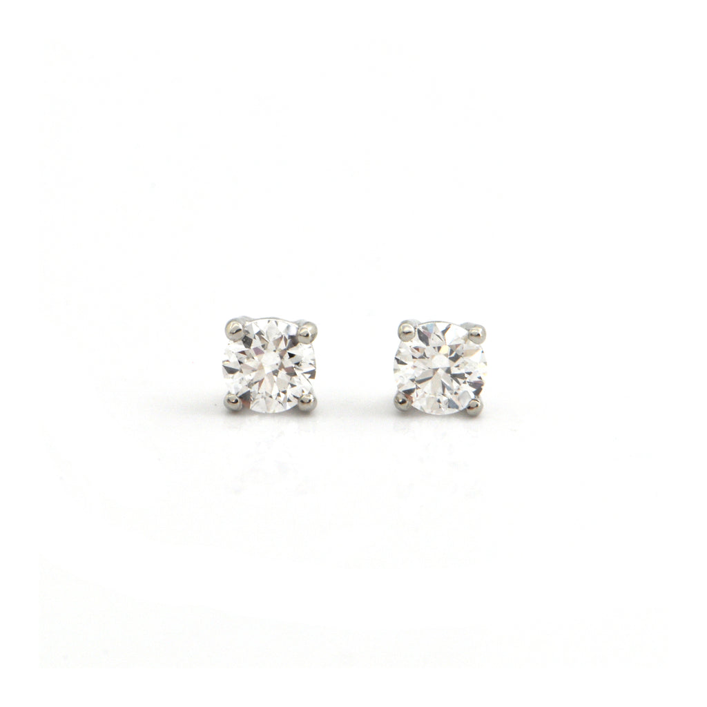 0.68CT Diamond and 18K White Gold Stud Earrings + Montreal Estate Jewelers