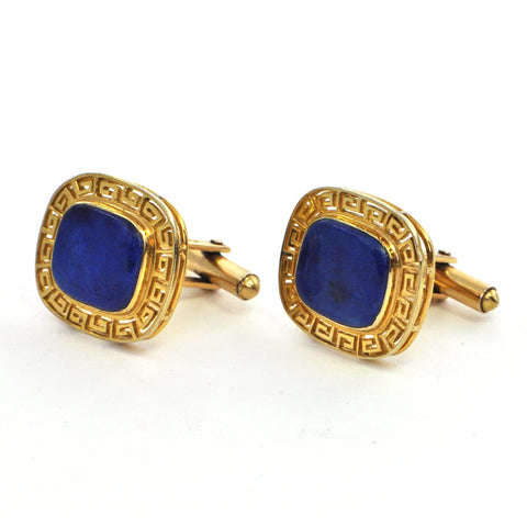 Lapis Lazuli large cufflinks in 18k gold circa 1960 - montreal estate jewellers