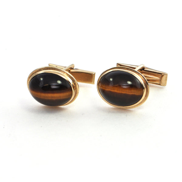 Vintage Tigers Eye Quartz Cufflinks - Montreal Estate jewellers