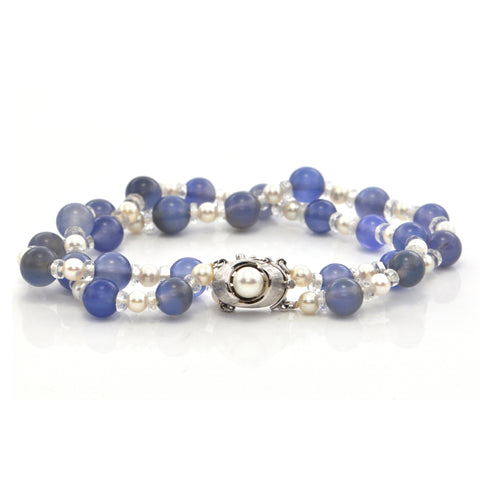 Pearl, Chalcedony and Rock Crystal 14K White Gold Double Strand Bracelet + Montreal Estate Jewelers