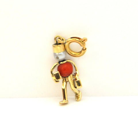 14k gold coral and pearl charm 'bellhop' - Daisy Exclusive Westmount Montreal