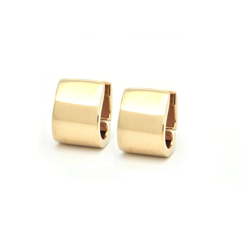 Italian High Polish 14K Yellow Gold Huggie Earrings + Montreal Estate Jewelers