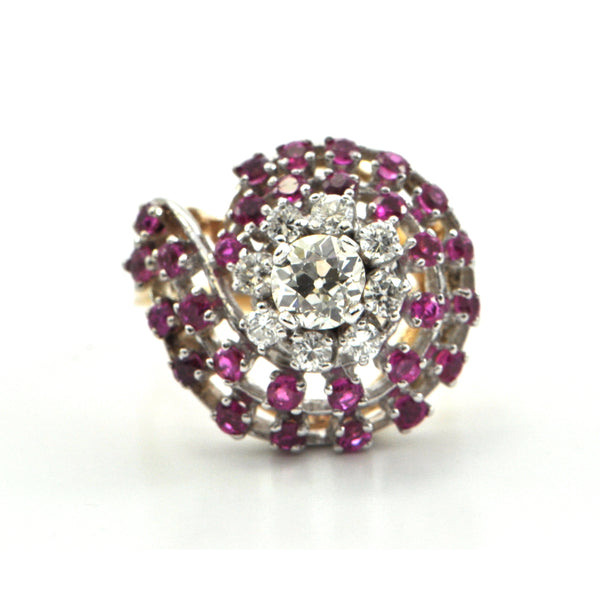 0.87 ct Diamond and 1.02 ct Pink Sapphire Ring Circa 1950 - Montreal Estate Jeweller