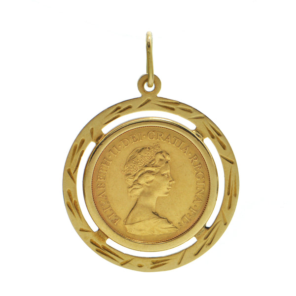 22k Yellow Gold 1976 British Sovereign Coin With 18K Gold Bezel Pendant + Montreal Estate Jewelers