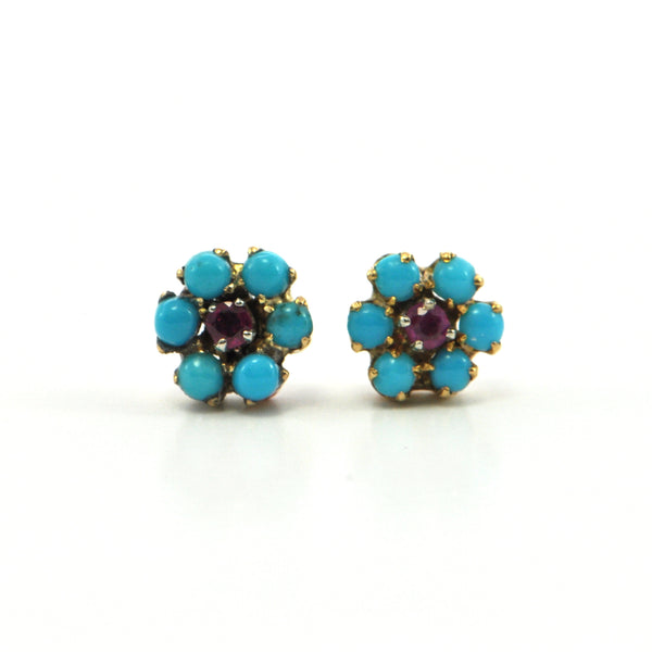 0.10 ct Ruby and Persian turquoise stud earrings - Montreal fine jewellery design