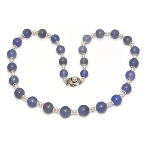 Pearl, Chalcedony and Rock Crystal 14K White Gold Graduated Bead Necklace + Montreal Estate Jewelers