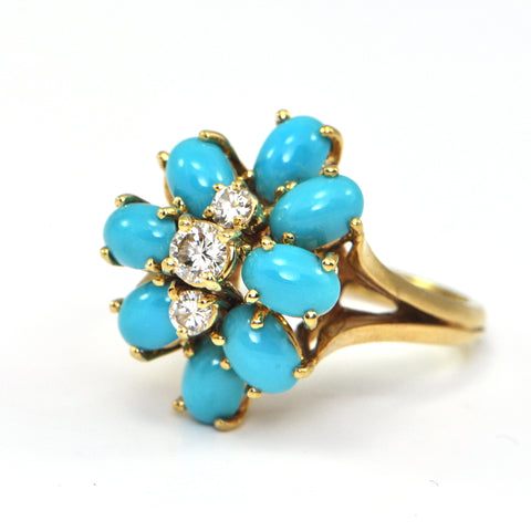Persian Turquoise and 0.33 ct Diamond ring circa 1960 - bijouterie antiquaire montreal