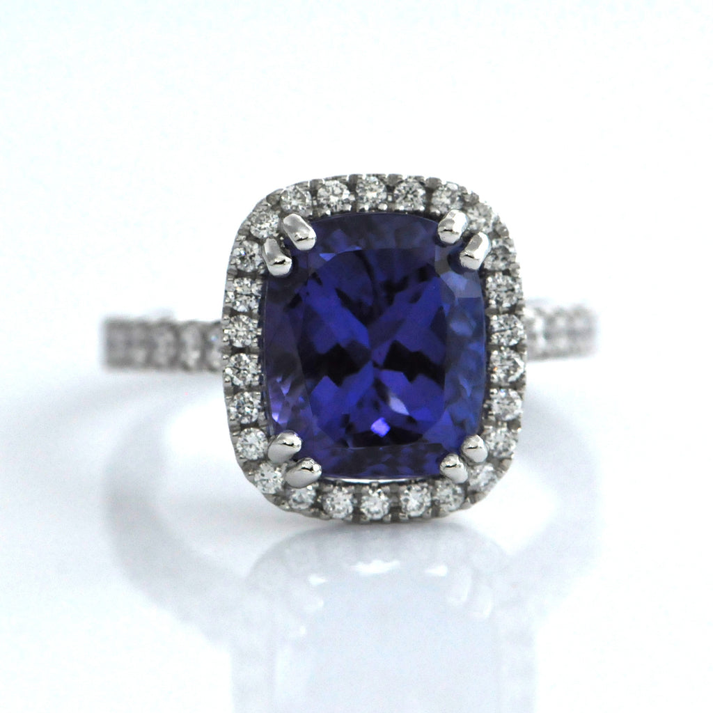 white diamond halo ring and rings gold p engagement round tanzanite