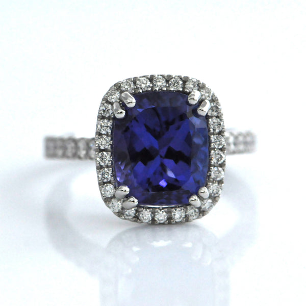 Tanzanite Diamond Halo Ring - Daisy Exclusive - Westmount Montreal