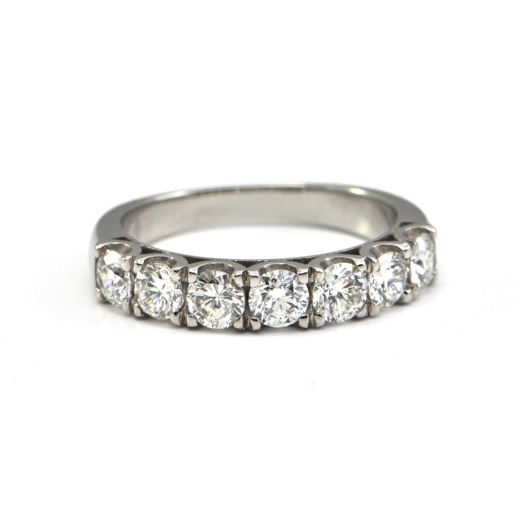 1.3 ct diamond Seven stone half eternity band in Platinum - montreal estate jewellers