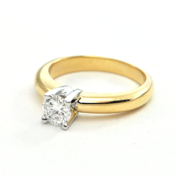 0.61ct Solitaire 18k yellow gold band with white gold setting - GIA certified, montreal estate jewellers
