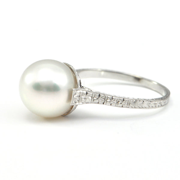 South Sea pearl ring with Antique filagree setting circa 1900 - montreal estate jewellers