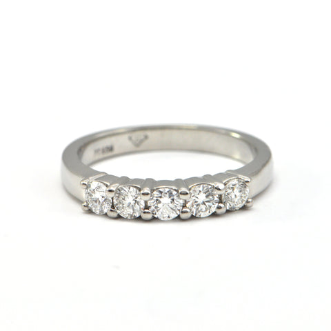 0.50 ct platinum 5 stone diamond ring - Montreal Estate Jewellers