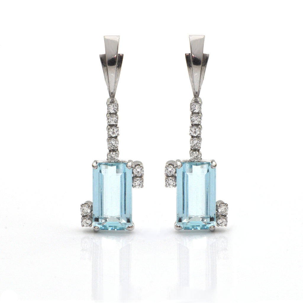 9.5 CT Aquamarine and 0.36 CT Diamond 18K White Gold Earrings + Montreal Estate Jewelers