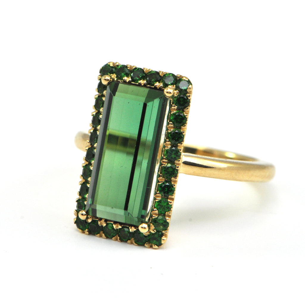 4.29 ct Green Tourmaline with tourmaline halo Ring - Montreal fine jewellery design