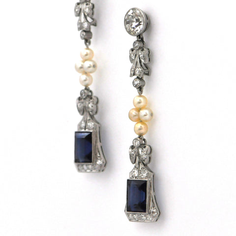 Edwardian Diamond, Pearl and Synthetic Sapphire Earrings - daisy exclusive - montreal, westmount
