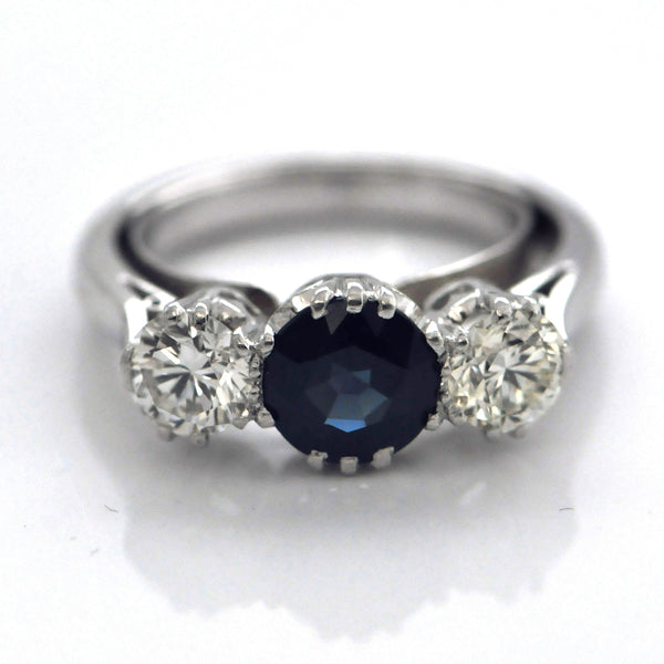 Art Deco 3-Stone Sapphire and Diamond Ring - Daisy Exclusive - Montreal, Westmount