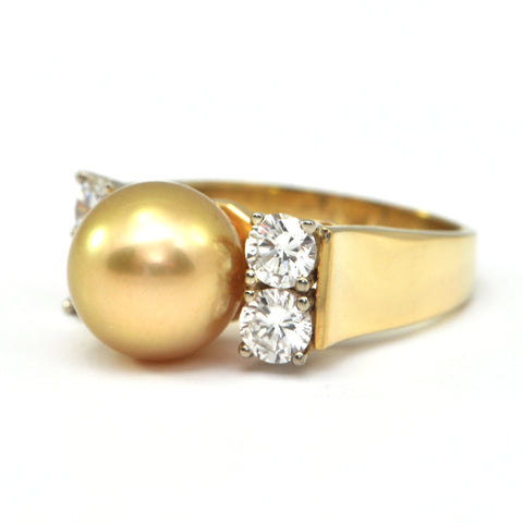 1.45 ct diamond and Natural Golden South sea Pearl Ring  - montreal estate jewellers