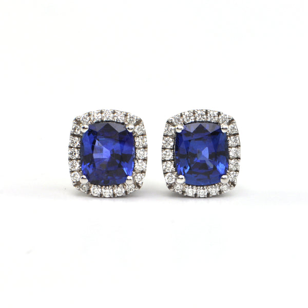 4.30 ct Ceylon Blue Sapphire and 0.25 ct diamond earrings - montreal jewellery design