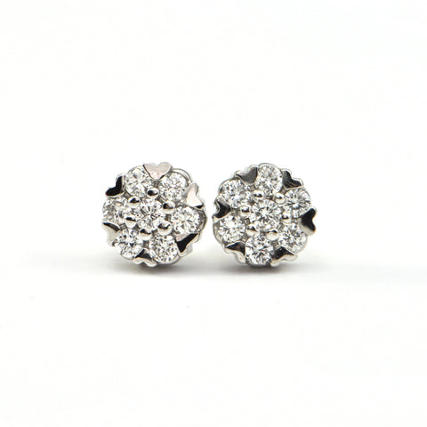 0.58 ct Diamond cluster stud earrings - montreal estate jeweller