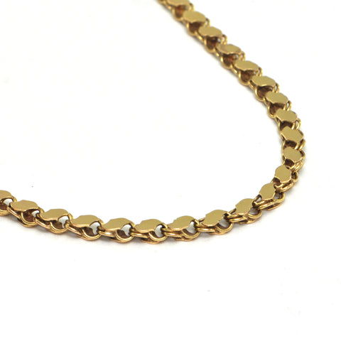 Vintage Chain Link Necklace with Flat Links in 18k Yellow Gold - montreal estate jewellers