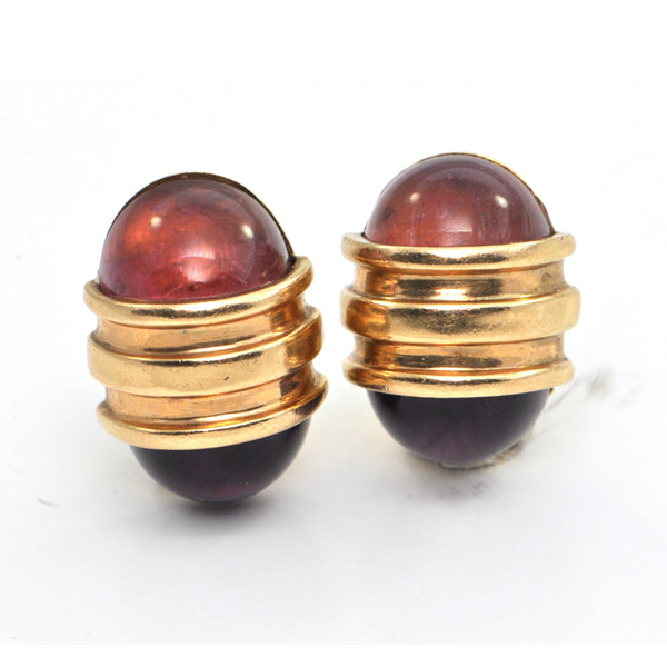 Vintage Tourmaline & Amethyst Earrings in 14K - montreal estate jewellers