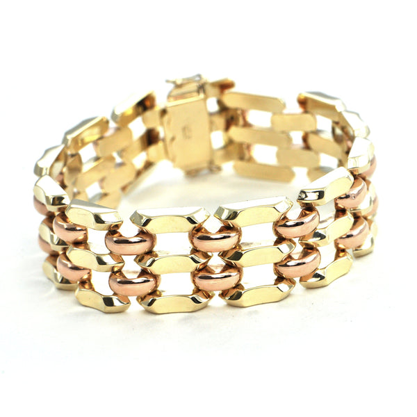Vintage 14k yellow and rose gold link bracelet - Montreal Estate Jewellers