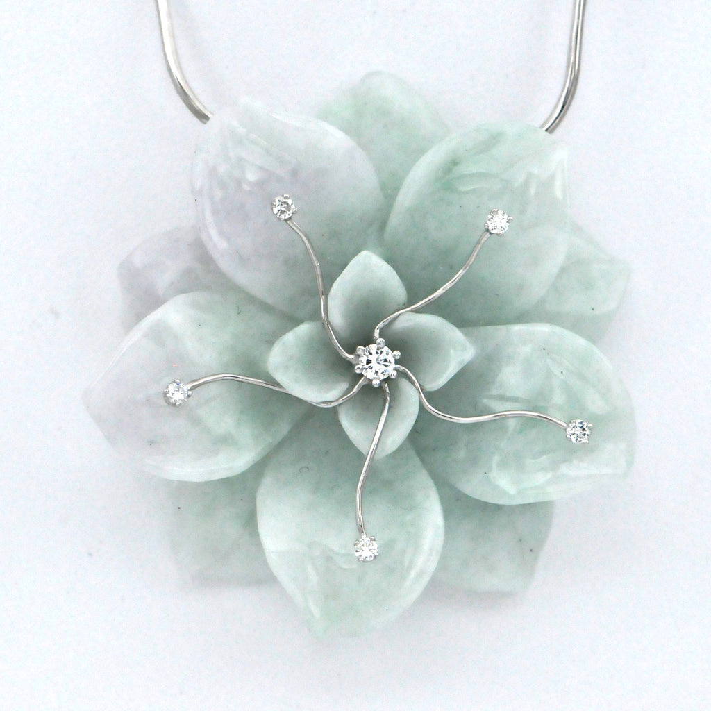 Hand Carved Jadeite Jade Flower and Diamonds Necklace  - Daisy Exclusive - Westmount, Montreal