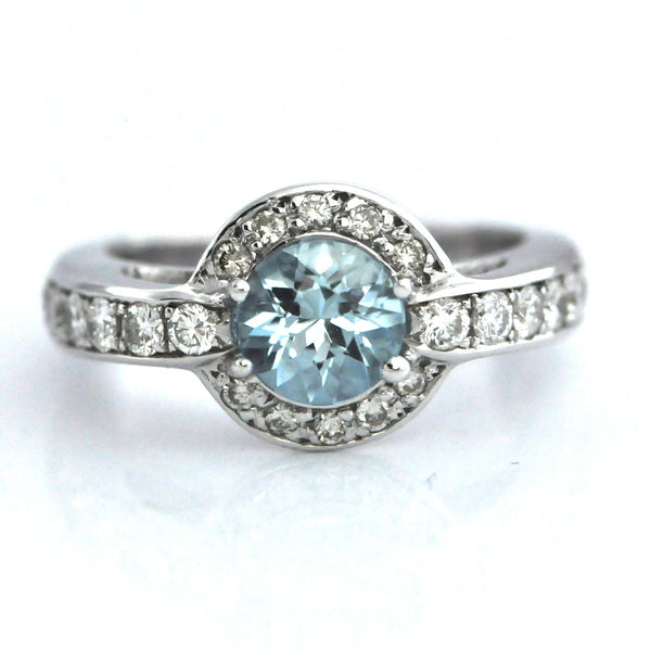 Aquamarine Diamond Halo ring - Daisy Exclusive - Westmount, Montreal